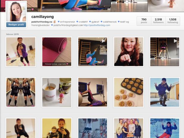 Instagram kontoen min @camillayong